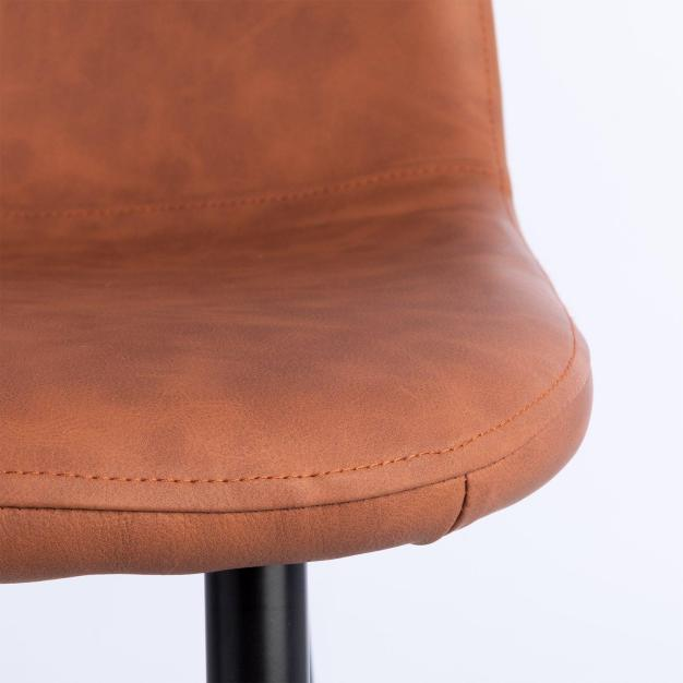 chaise moderne simili cuir camel