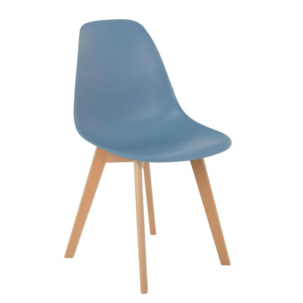 chaise nordique bleu solide design