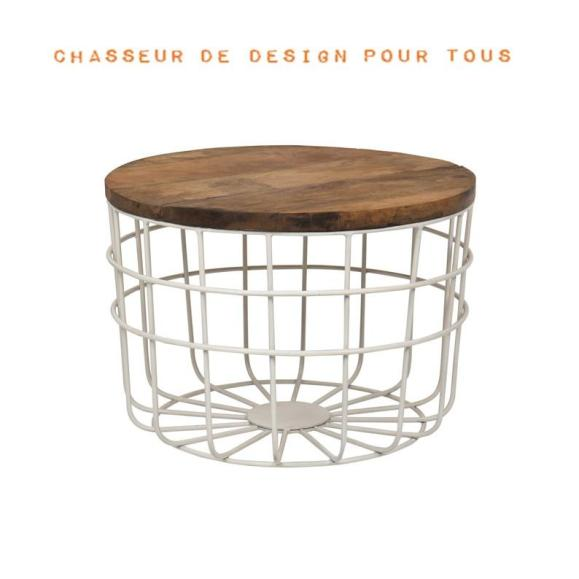 table basse bois grid