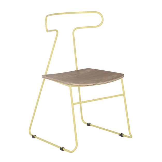 chaise métal jaune
