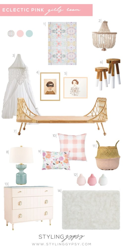 Styling Gypsy | eclectic pink girls room design board featuring blush pink and aqua accents, a rattan daybed, buffalo check pillows, floral pillows, wood bead chandelier, aqua table lamp, graphic wallpaper, shag rug and a pink dresser. #girlsroom #girlsroomideas #kidsroom