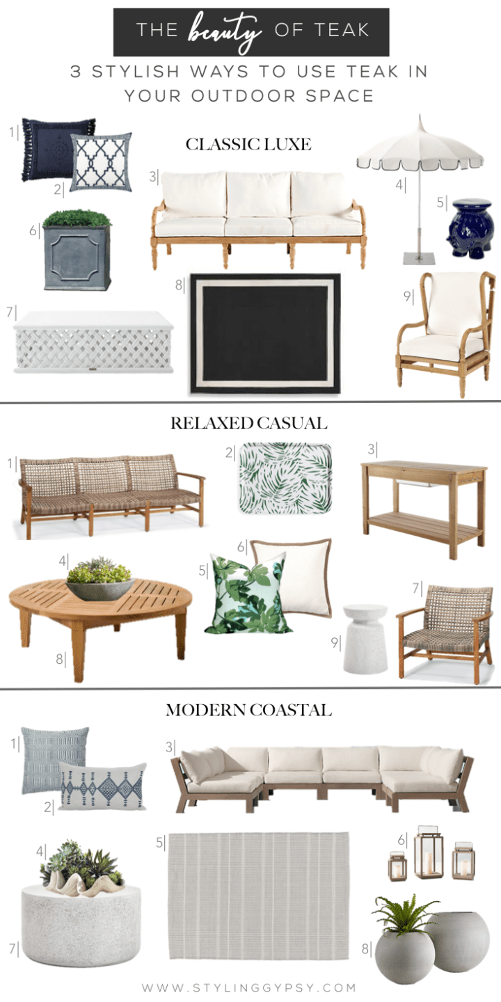 Styling Gypsy   The Beauty of Teak - 3 Stylish Ways to Use Teak in Your Outdoor Space   Design board featuring patio decor ideas & outdoor furniture