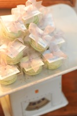 Pistachio macaroons in plastic boxes were displayed in an antique baby scale