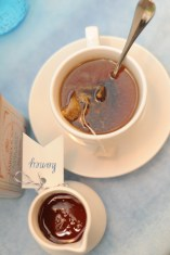 Tea served with honey, sugar and cream