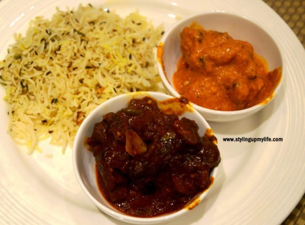 Jeera rice, Choosa Khas Makhni, Bhuna mutton Four Points by Sheraton