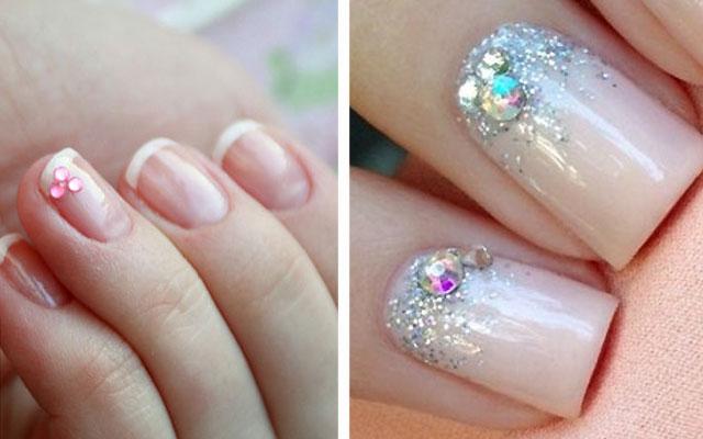 дизайн ногтей с блестками и стразами 2