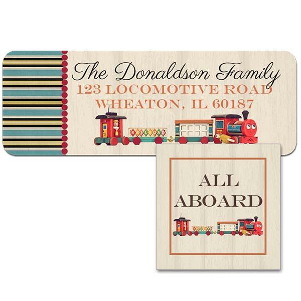 vintage train return address label