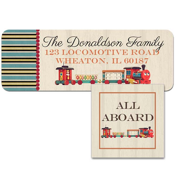 vintage train return address label