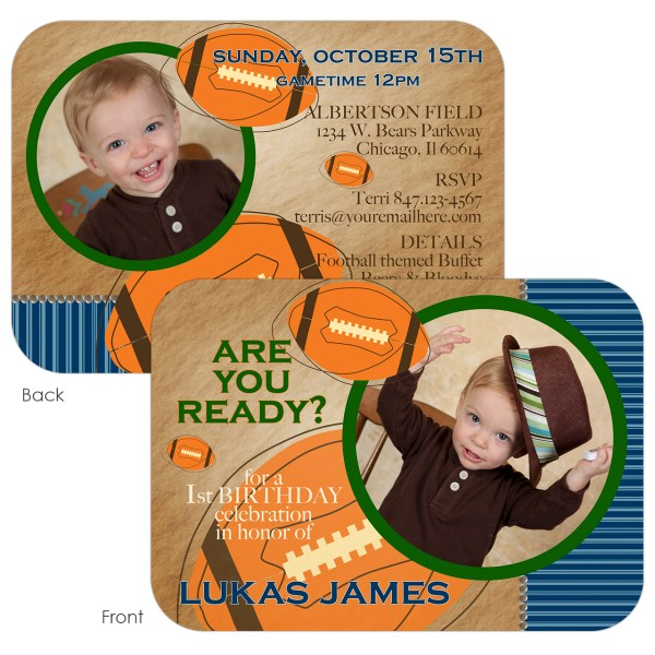 vintage football birthday invitation