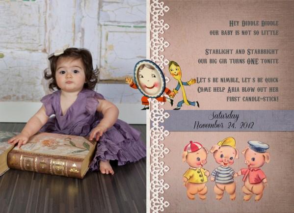 nursery rhyme 1st birthday invitation