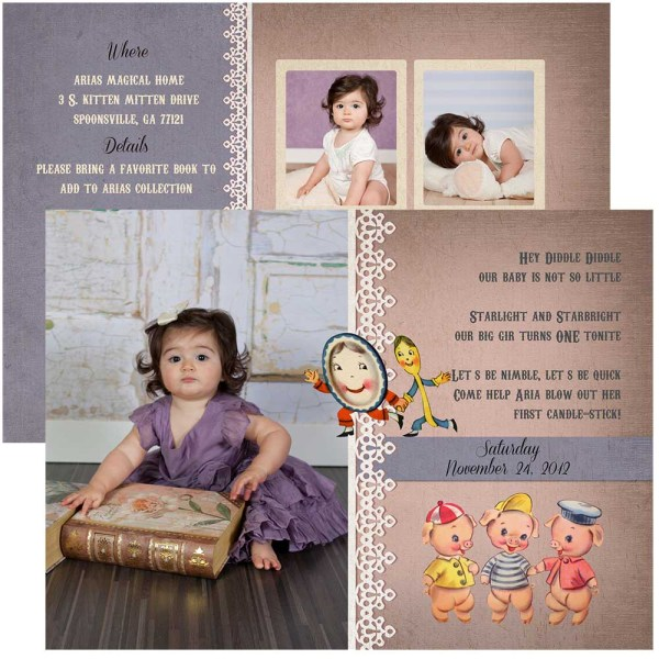 nursery rhyme 1st birthday invitation