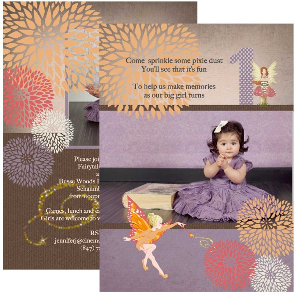 Fairy & Pixie Dust 1st Birthday Invitation