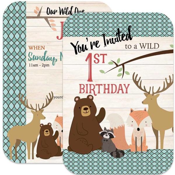 woodland animal 1st birthday invitation