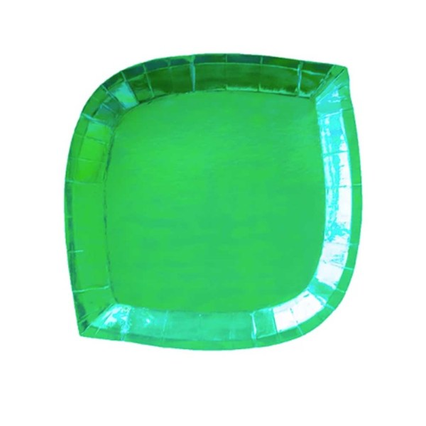 green iridescent die cut paper plate