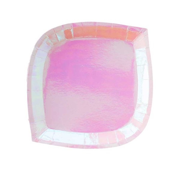peach pink iridescent die cut paper plate