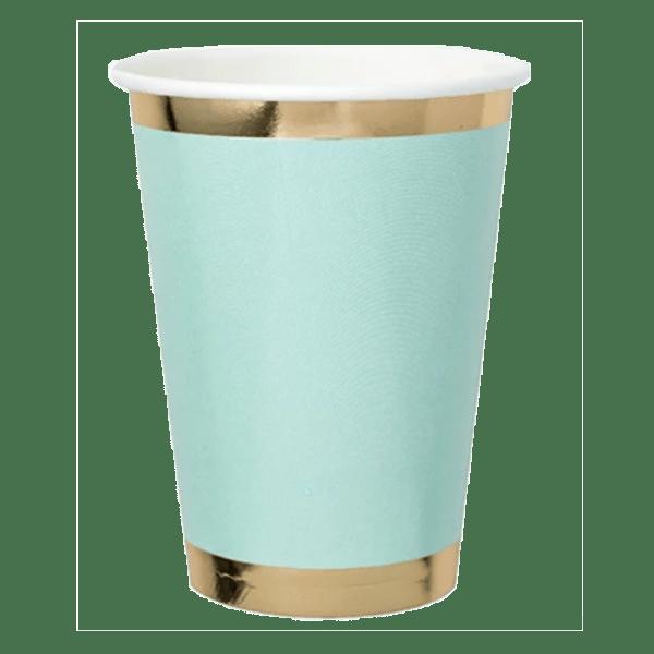 aqua paper cup with gold foil