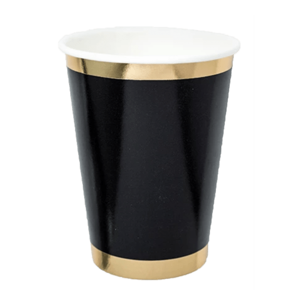 black paper tumbler with gold trim