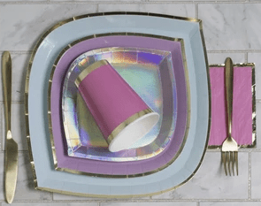 die cut paper plates with gold trim