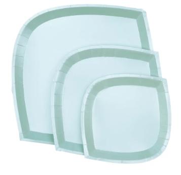 mint aqua die cut paper plate