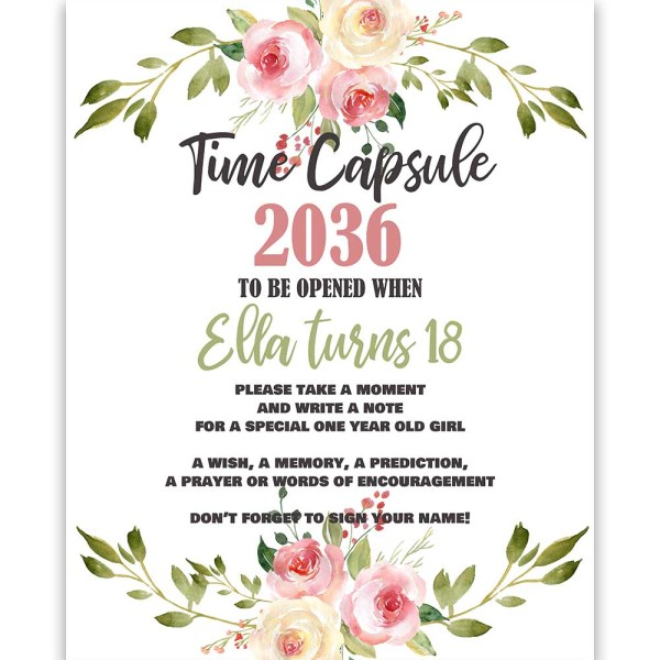 Blush and Pink Time Capsule Sign