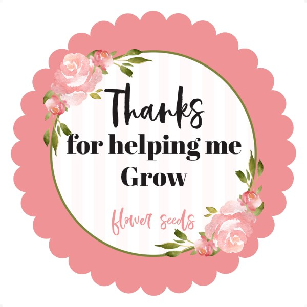 pink floral thank you 3x3 scalloped sticker