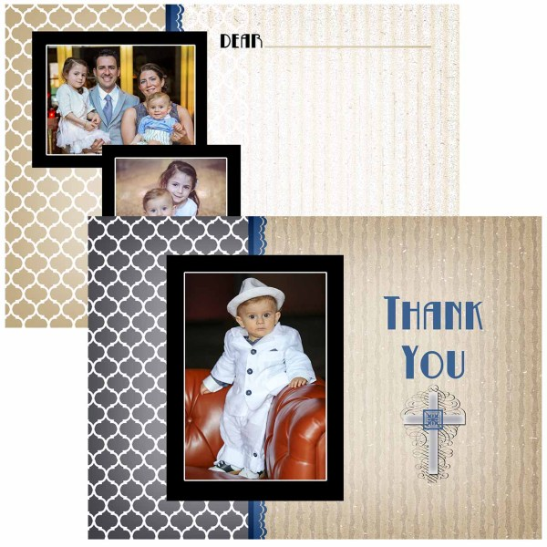 deco baptism thank you card
