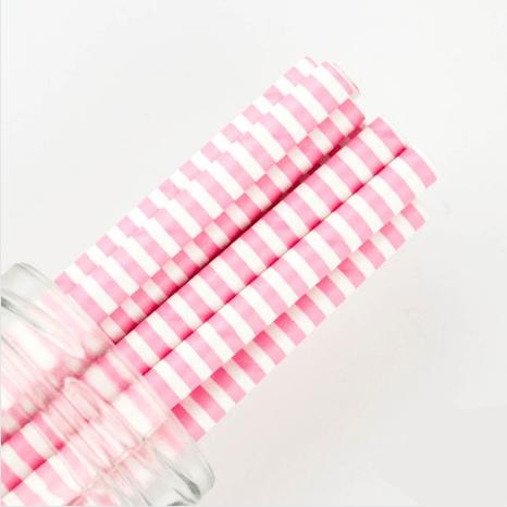pink stripe straw
