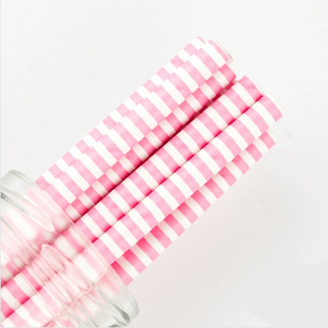 pink stripe straw
