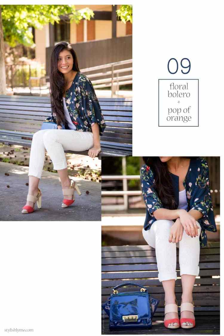 Floral bolero and summer sandals - 15 Stylish Ways to Wear White Jeans