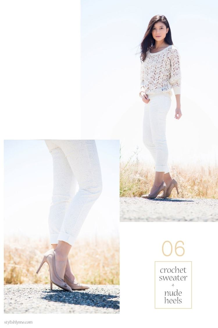 What to wear with white jeans: White jeans with nude heels and crochet sweater - 15 Stylish Ways to Wear White Jeans
