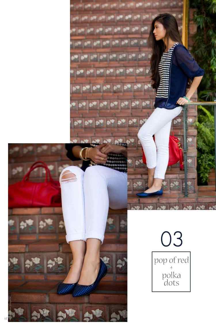 What to wear with white jeans: White jeans, polka dots and a pop of color - 15 Stylish Ways to Wear White Jeans