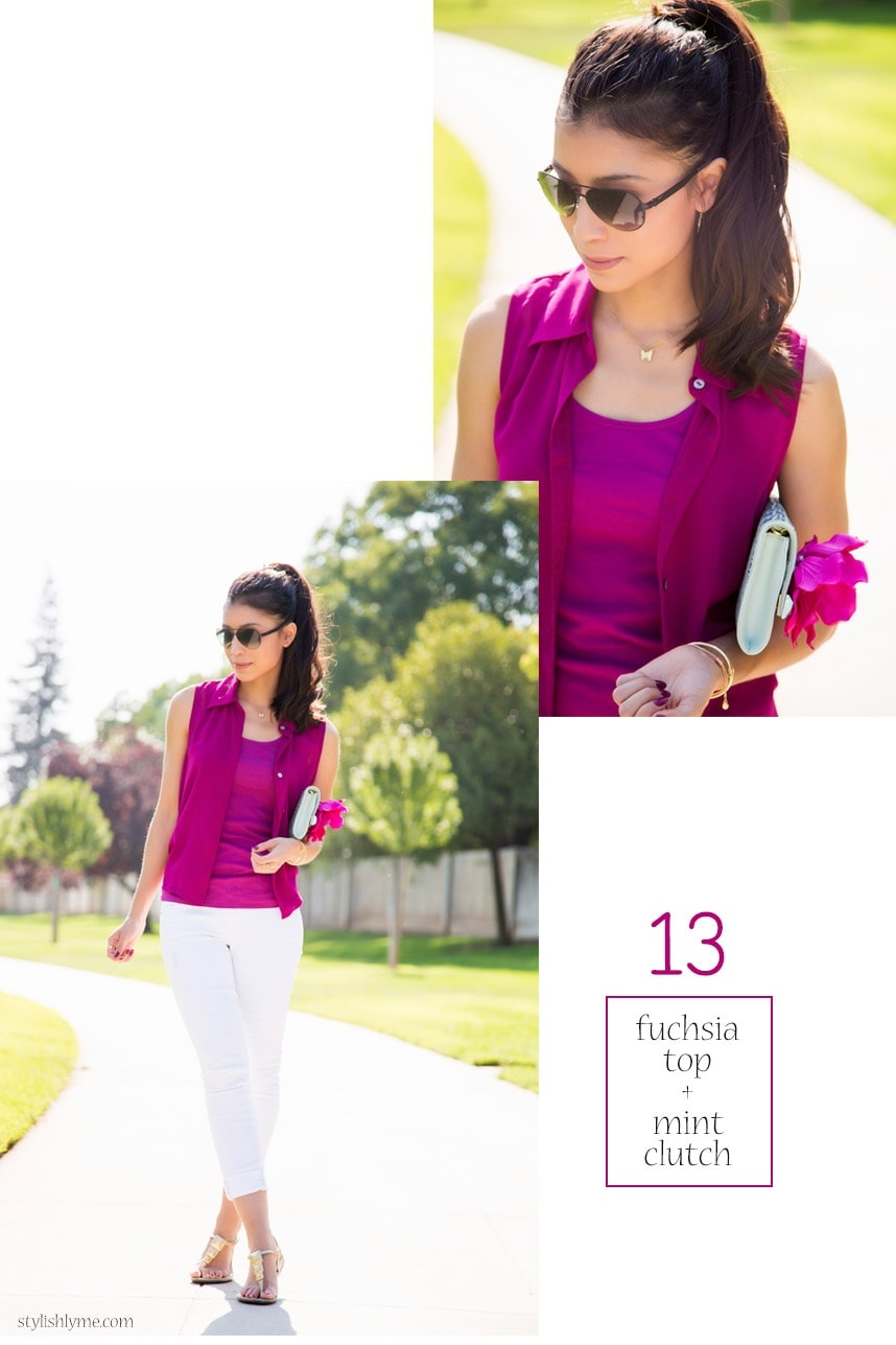 White jeans with a pop of fuchsia - 15 Stylish Ways to Wear White Jeans
