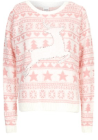 Pink and White Prancing Reindeer Fairisle Christmas