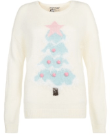 New Look Cream Light Up Tree Christmas Jumper