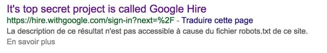 google hire projet secret application recrutement