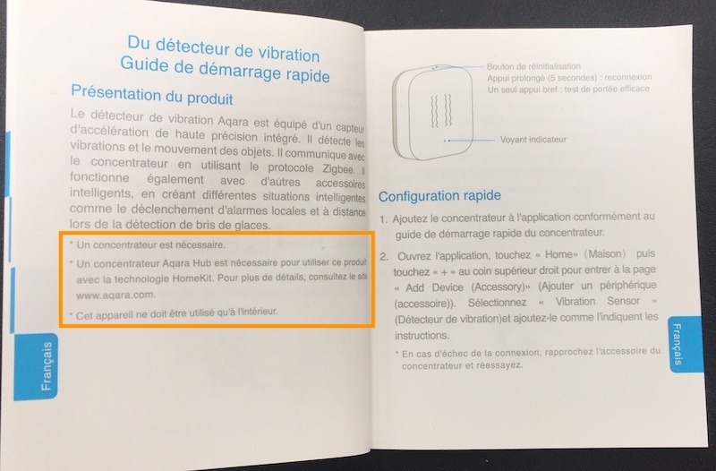 installation paramètre aqara capteur vibration xiaomi homekit