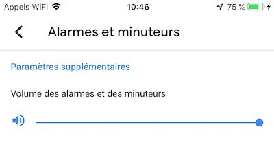 réglage volume alarme google home