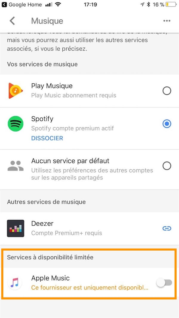 Comment écouter de la musique sur Google Home choix