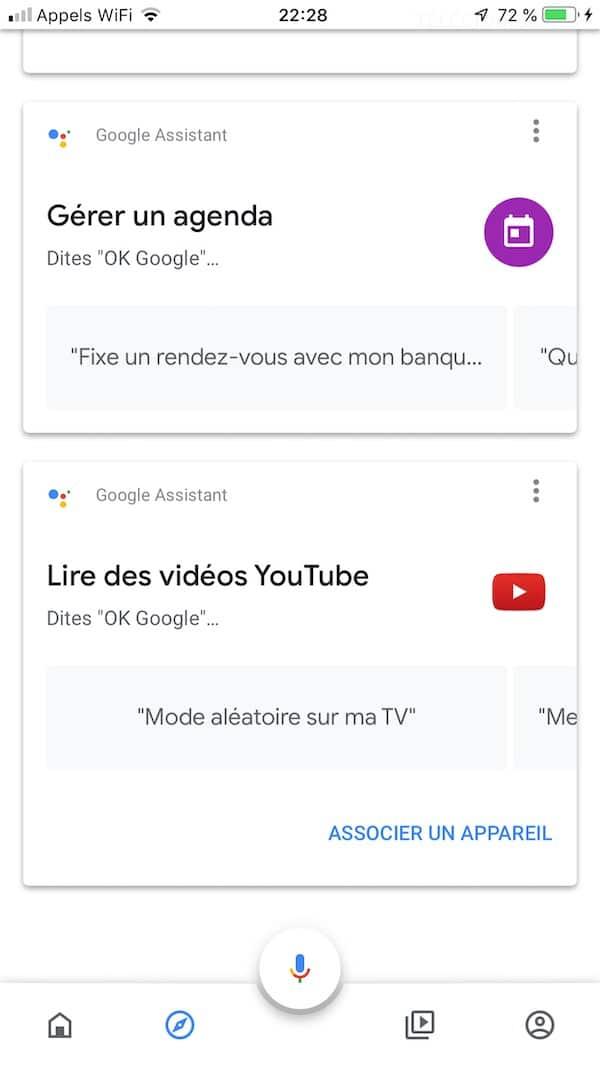 app google home Onglet Découvrir