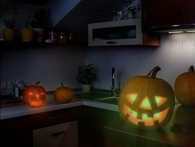 citrouille éclairée Halloween ampoule Philips hue
