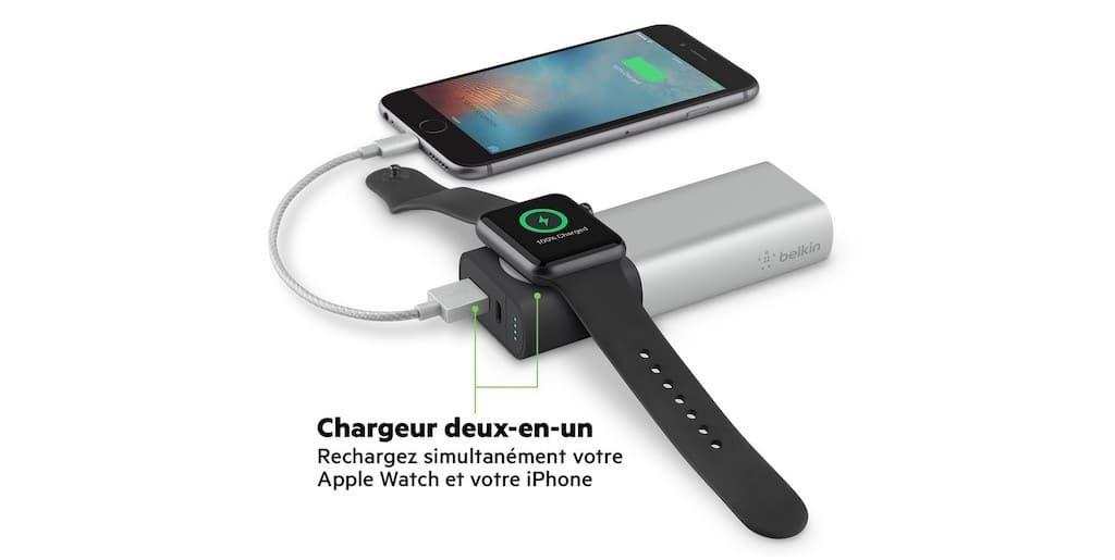 Chargeur batterie sans fil pour Apple Watch et iPhone Belkin