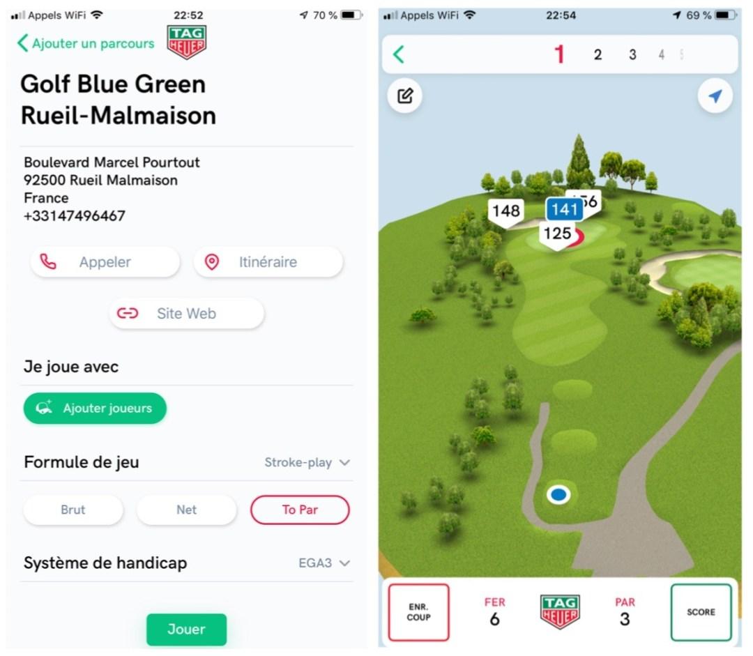 Tag Heuer Connected 45 Modular Golf Edition app golf rueil malmaison