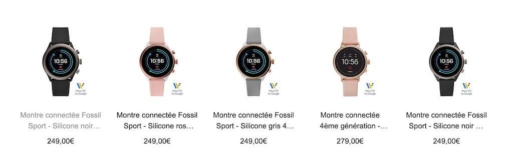 Fossil montre connectée promotion réduction
