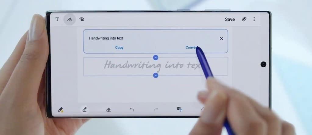 Pen S conversion texte export Note 10