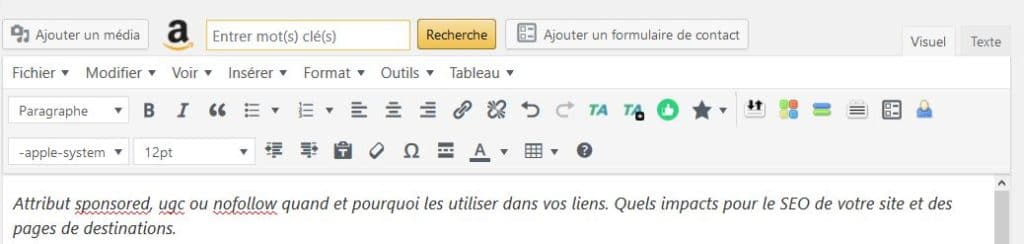 attribut sponsored ajout ou modification dans wordpress