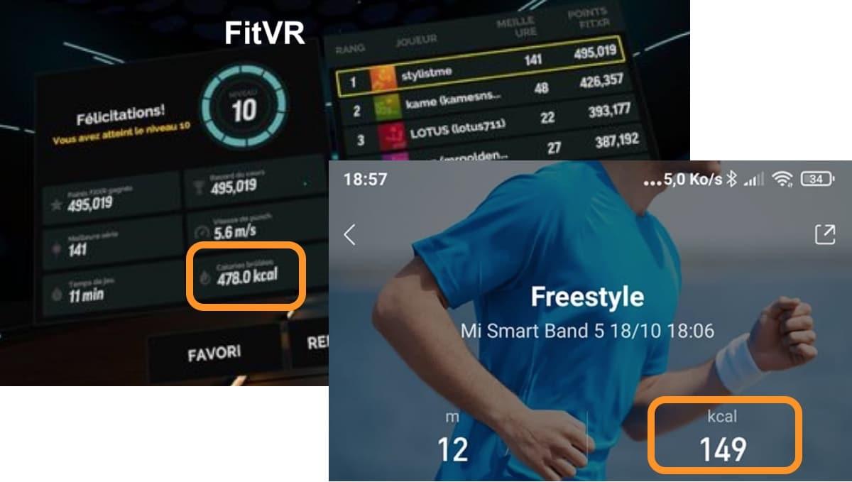 FitXR dépense calories réelle