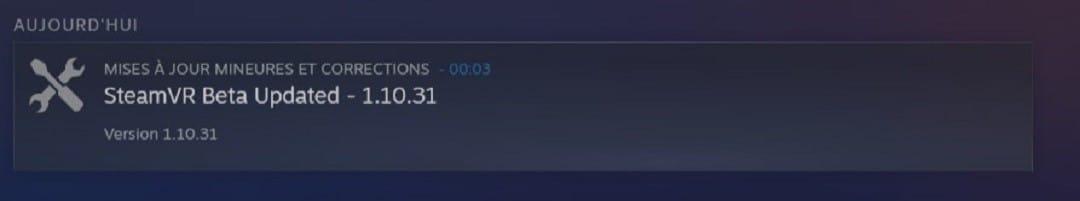 Steam VR mise à jour beta 1 10 31