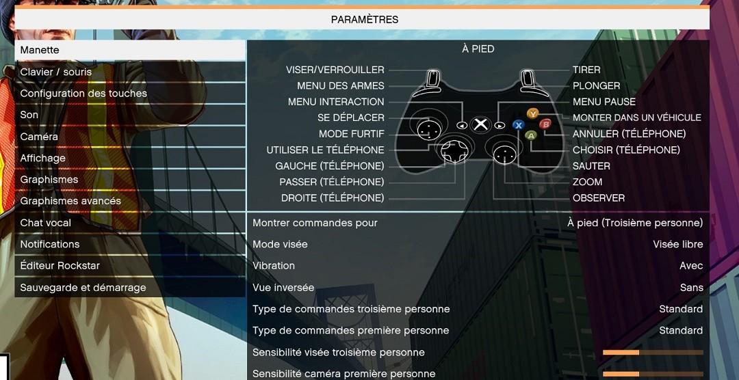 GTA 5 VR réglage manette