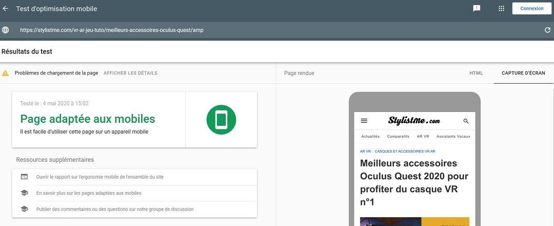 Test performance optimisation site sur mobile