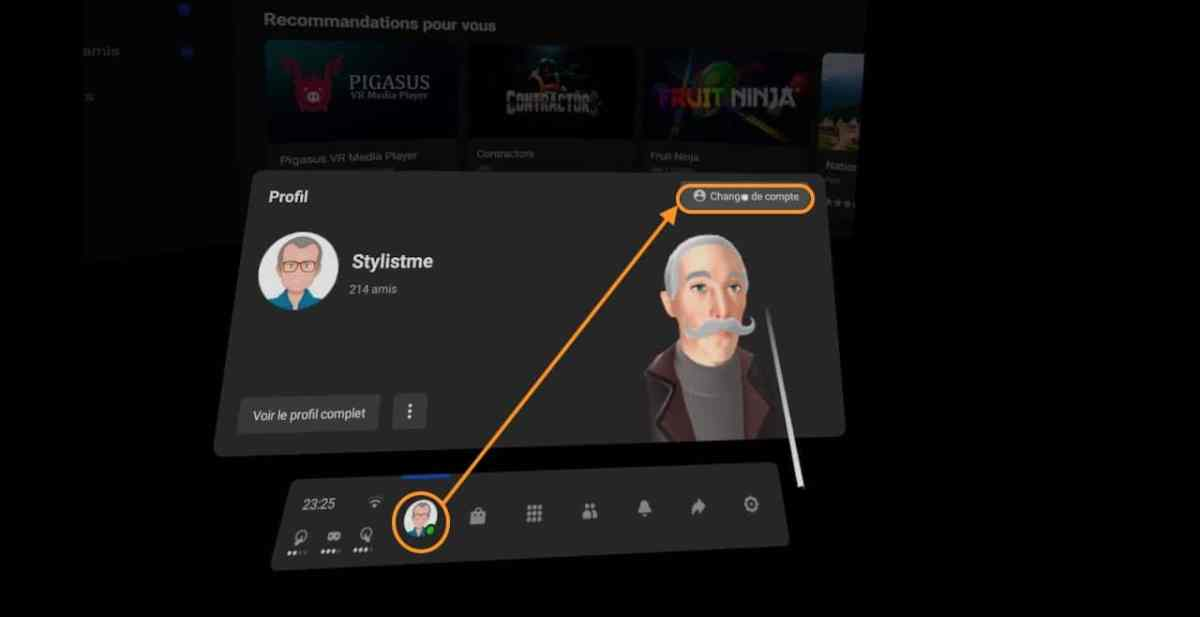 Changer de compte Quest Oculus